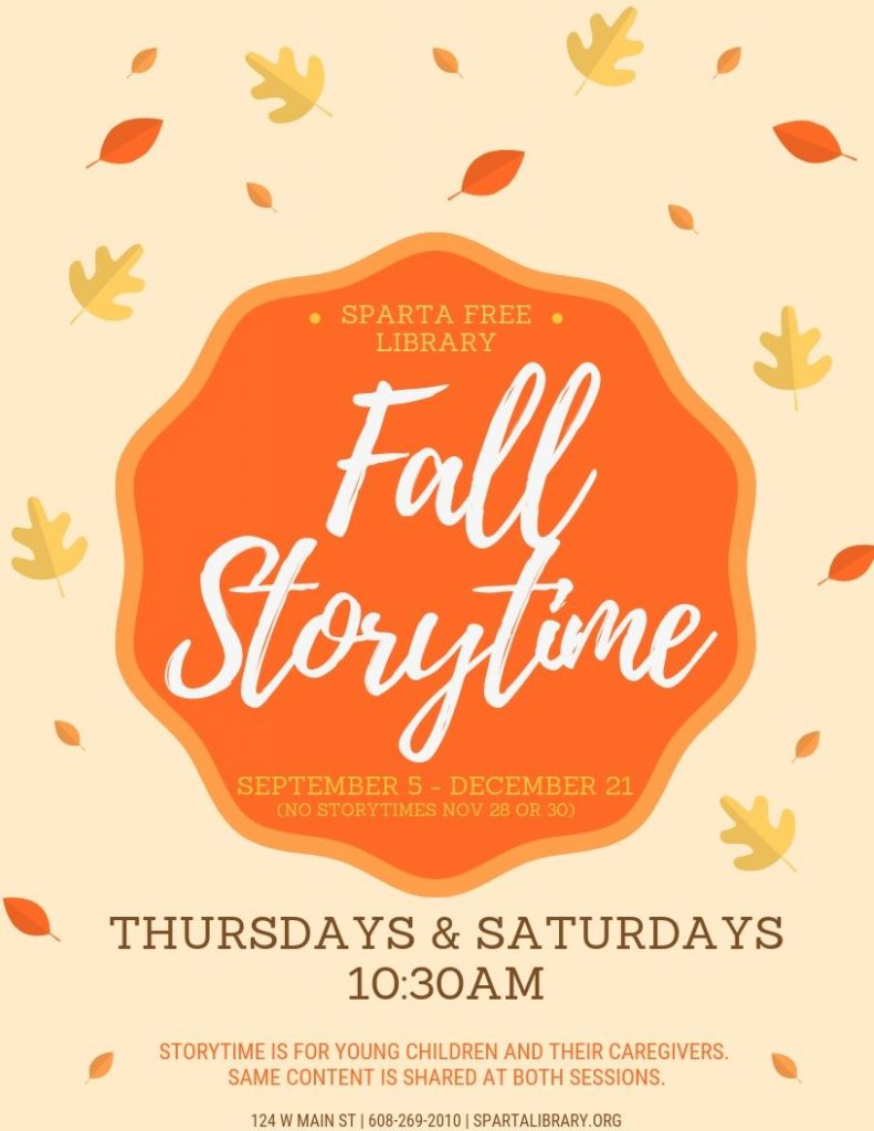 Fall Storytime 2019 poster
