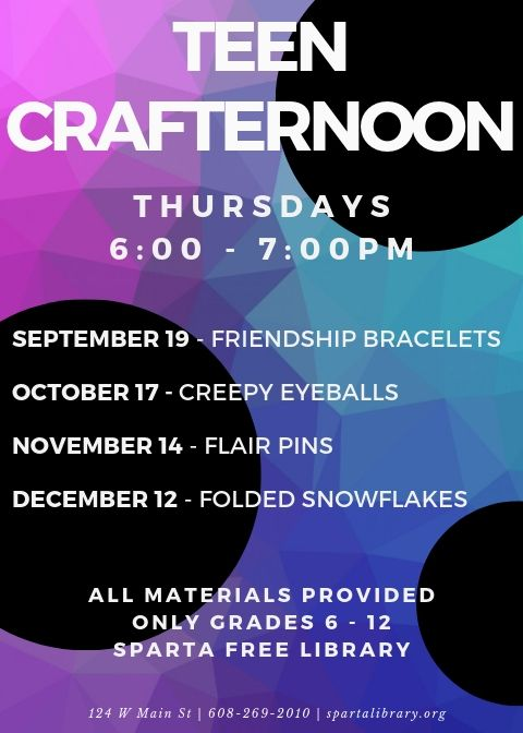 Teen Crafternoon @ Sparta Free Library
