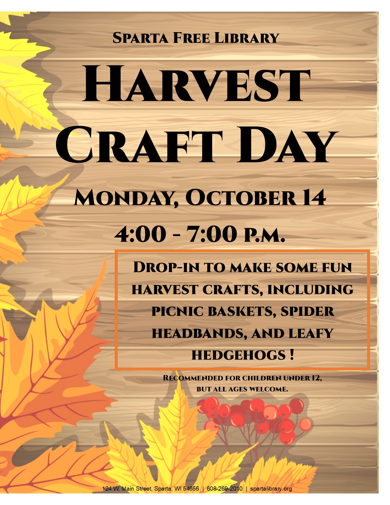Harvest Craft Day @ Sparta Free Library