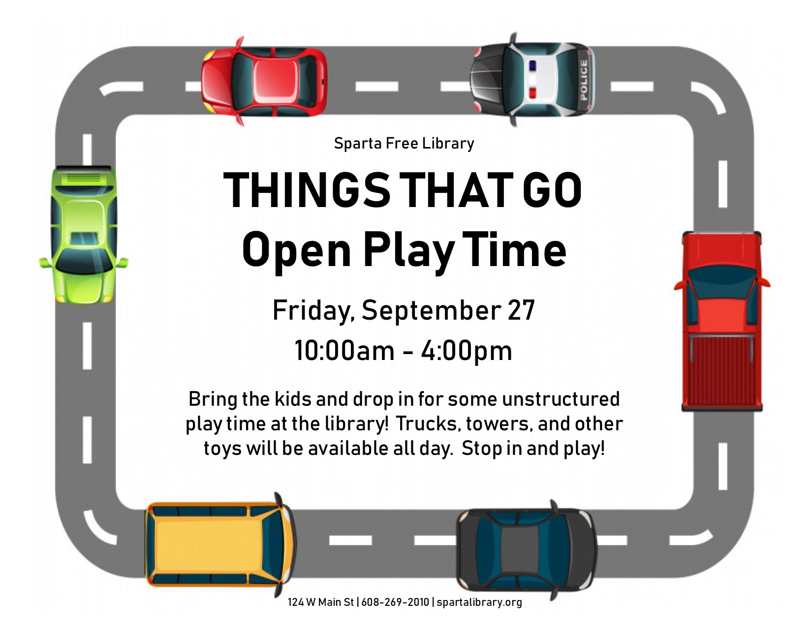 Things That Go: Open Play Time @ Sparta Free Library