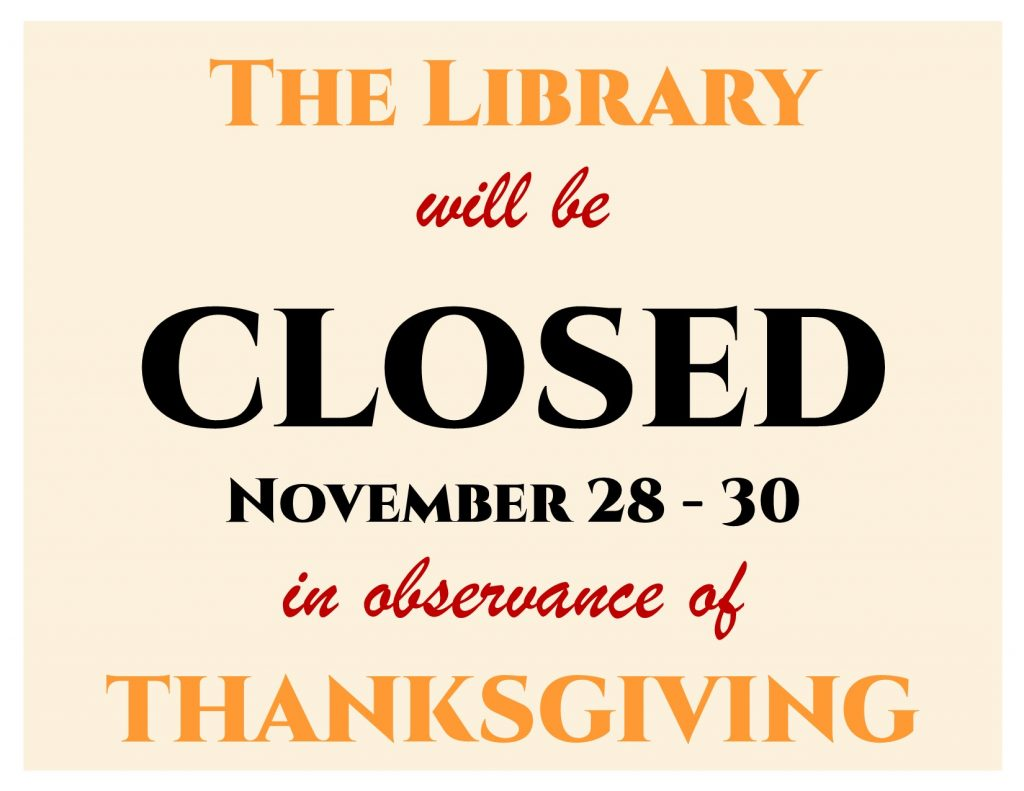 Closed for Thanksgiving - 2019