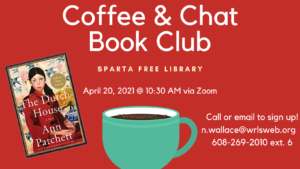 April Coffee & Chat Book Club @ Zoom (virtual event). Please register via email or phone.