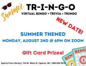 TR-I-N-G-O: Summer! (new, rescheduled date) @ Virtual Event via Zoom. Pre-registration & kit pick-up needed.
