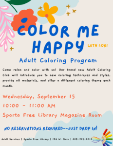Color Me Happy (Adult Coloring with Lori) @ Sparta Free Library