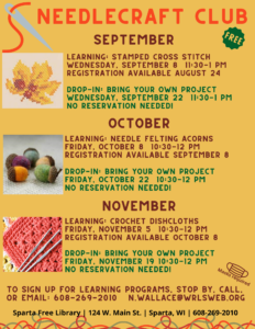 Needlecraft Club (Learning Session-free registration req'd) @ Sparta Free Library