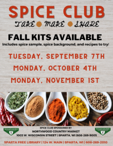 Spice Club Kits Available! @ Sparta Free Library